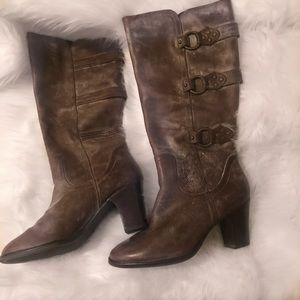 Matisse Brown Leather Distressed Boots